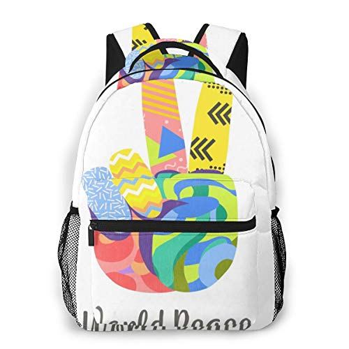 Colorful Hand Peace Sign Background Laptop Schoolbag Casual Super Durable Backpack Lightweight Travel Sports