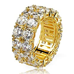 Gold Rhinestones 2Rows Round Cut 14K Silver Plated Ring