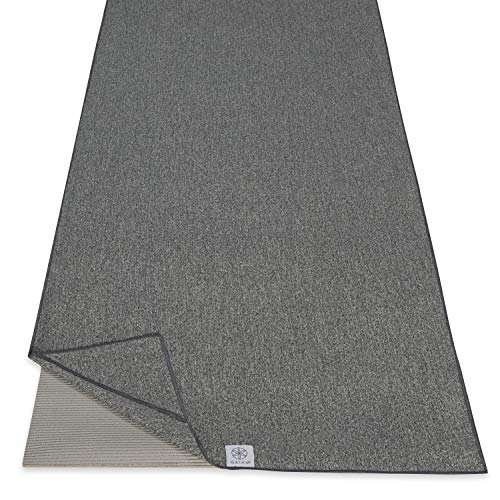 """Gaiam Yoga Towel - Mat Sized Active Dry Non Slip Moisture Wicking Sweat Absorbent Microfiber Hot Yoga Towel for Women & Men   Stay-Put Corner Pockets (70"""" Long x 26"""" Wide), Grey from Gaiam"""