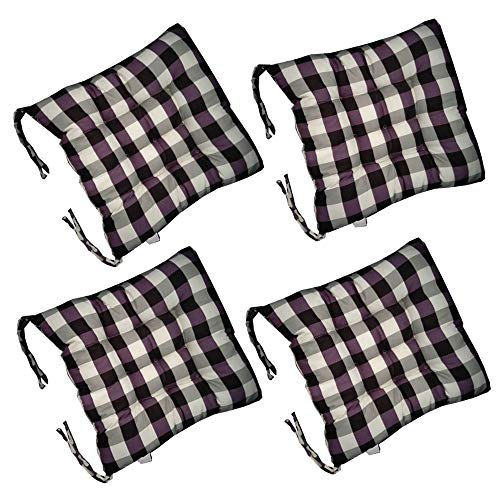AGDLLYD Chair cushion for dining chairs set of 4, 4 x Padded Cushion Chair Quilted Design Seat Pads With Ties for Indoor Outdoor Garden Office Living Room,40x40x5cm, (Purple)