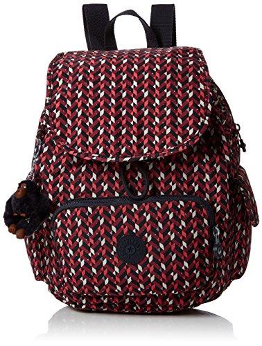 Kipling City Pack S, Mochila para Mujer, Multicolor (Pink Chevron), 15x24x45 cm (W x H x L)