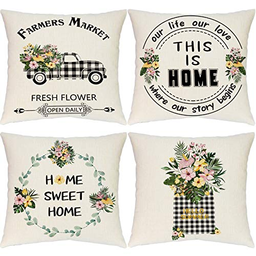 Hlonon Farmhouse Pillow Covers Summer Decorations Pillow Covers 18x18 Inch Set of 4 Buffalo Plaid Farmhouse Truck Fresh Flowers Cotton Linen Pillow Covers for Spring Summer Home Decor