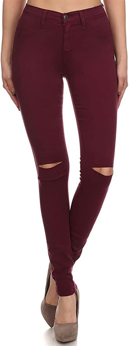 Vibrant Sale SALE% OFF Slit Knee High Waisted Shipping included Solid Jeans
