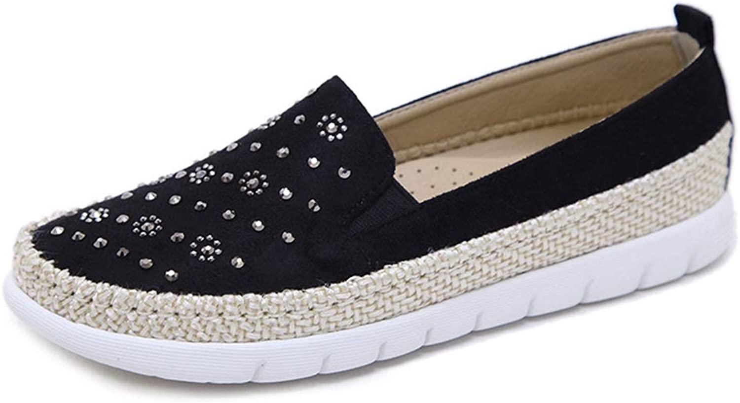 CYBLING Women's Fashion Rivet Loafers Slip-On Espadrille Casual Boat Driving Flat shoes