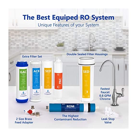 Express Water RO5DX Reverse Osmosis Filtration NSF Certified 5 Stage RO System with Faucet and Tank – Under Sink Water… 4 Reverse Osmosis Water Filter: Experience what water should taste like with the Express Water reverse osmosis water filtration system removing up to 99.99% of Lead, Chlorine, Fluoride, Nitrates, Calcium, Arsenic, and more. Water Purification System: Drink the healthiest water on Earth. All our water filters are specially engineered to work together, producing the safest and best tasting water you'll ever drink Under Sink Water Filter: Don't waste money on professional installation. Express Water's quick and easy-to-understand design means you can install and understand everything about your new water filtration system