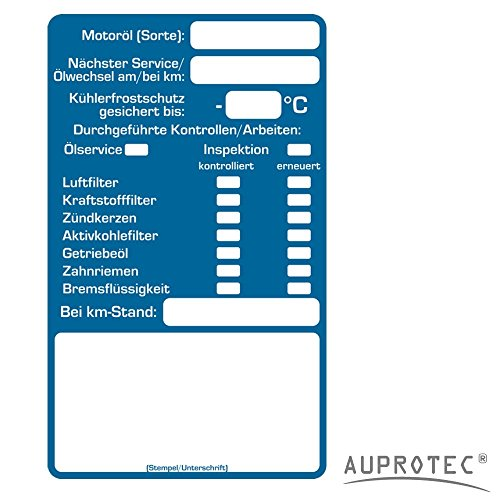 AUPROTEC Kundendienst Aufkleber Werkstatt Serviceaufkleber Auswahl: 50 Stück, Inspektionsaufkleber