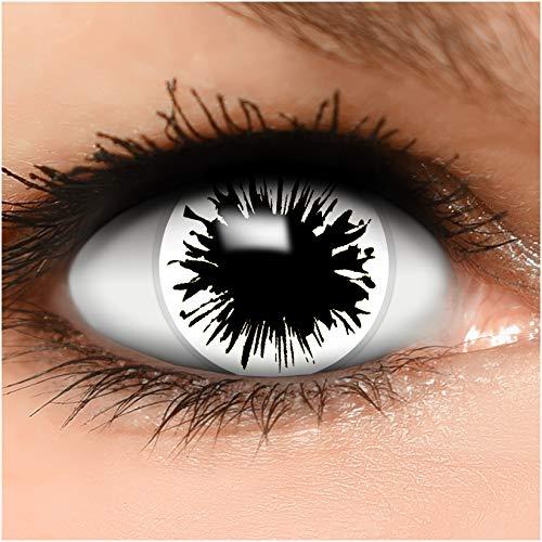 Farbige Kontaktlinsen Shot in weiß + Behälter - Top Linsenfinder Markenqualität, 1Paar (2 Stück)