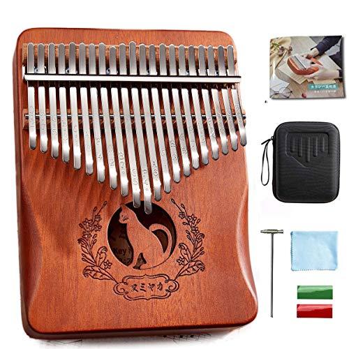 カリンバ 楽器 21キー 親指ピアノ kalimba 猫柄 日本語説明書 C調 収納ケース付き 初心者向け