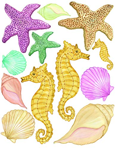 Sea Shells Wall Stickers, Beach Bathroom Decor Decals, Seashell Window Clings Star Fish & Sea Horse Ocean Removable Peel and Stick