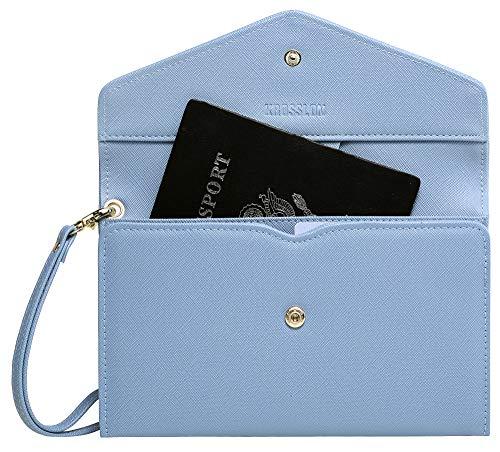 Krosslon Rfid Passport Holder Wristlet Travel Wallet Trifold Documents Organizer Slim Purse, Fit US UK CA Passport Cover Traveling Accessories for Women, Serenity Blue(12#)