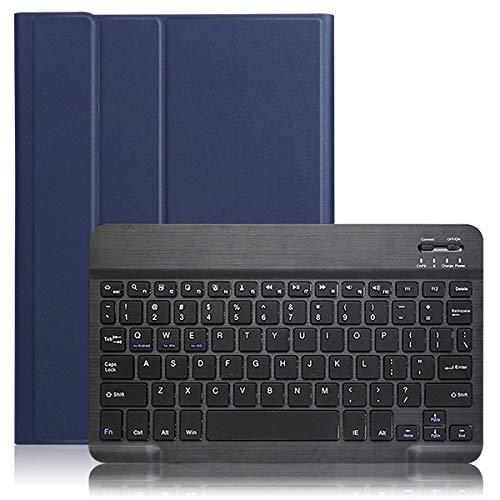 QiuKui Tab Funda para Samsung Galaxy Tab A 8.0, Teclado inalámbrico Tablet Tablet PU Cuero Bluetooth Teclado Tablet Funda para Samsung Galaxy Tab A 8.0 2019 SM-T290 SM-T295 (Color : Dark Blue Black)