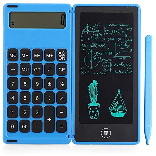 BOINN Calculadora Bloc de Notas Tableta de Escritura LCD de 6 Pulgadas Tableta de Dibujo Digital con LáPiz óPtico BotóN de Borrado FuncióN de Bloqueo Azul