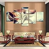 WARMBERL Cuadro moderno de 5 paneles de pintura en lienzo con diseño de estrella de mar y caracola, decoración para el hogar, marco de lienzo, impresión sobre lienzo enmarcado