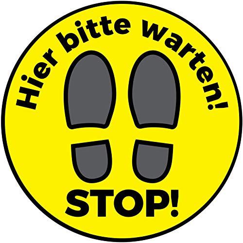 Fußbodenaufkleber Stop! Hier Bitte warten | 30 cm Aufkleber rund | Bodenaufkleber Abstand halten
