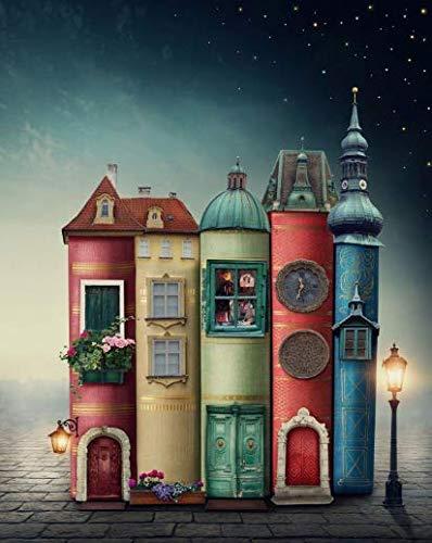 NOBRAND Pintar por numeros Adultos DIY Pintura Digital Colorear Acrílico Adulto Libro-como Estilo arquitectónico Sin Marco 40x50cm WYLUWLI