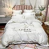 FMOGE Bettbezug Double King Size 60S Langstapelige Baumwolle Gesticktes Vierteiliges Set, Cartoon Pure Cotton Pure Color Kit Bettwäsche Plain Color 4 Seasons Bettwäscheset
