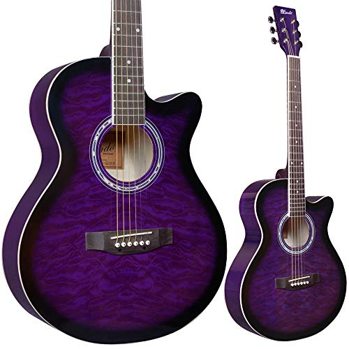 Lindo Standard Amethyst Lila Akustikgitarre und Zubehör-Set (Gigbag, Clip-on Tuner, DVD, Gurt, Plektrum, Saitensatz)