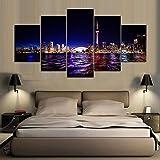 UYEDSR 5 lienzos artísticos Mural no Tejido Centro de Toronto HD Cuadros para Moderno Sala Decorativos