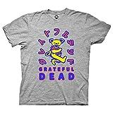 Mens Grateful Dead Rock Shirt - Grateful Dead Steal Your Face Skull Dancing Bear Vintage Tee (Heather Grey, X-Large)