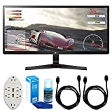 LG 34UM68-P 34' UltraWide IPS Gaming Monitor w/FreeSync + Accessories Bundle Includes, Transformer Tap USB w/ 6-Outlet Wall Adapter & 2 Ports, 2X 6ft. HDMI Cable & LED TV Screen Cleaner