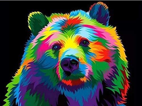 bksptop DIY 5D círculo Completo Pintura de Diamante Color Animal León Tigre Gato Punto de Cruz con Incrustaciones de Bordado de Diamantes 40x50cm
