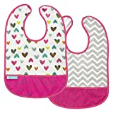 Kushies Cleanbib Waterproof Feeding Bib with Catch All/Crumb Catcher Pocket. Wipe Clean and Reuse! Lightweight for Comfort, 2-Pack, Baby Girls, 6-12 Months, White Doodle Hearts/Fuchsia Chevron