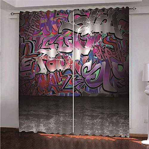 DOORWD Tenda Oscurante Termica Isolante con Occhielli Tende Muro di Graffiti Colorati 2 Pannello per Finestre Soggiorno Interni 220 cm x 215cm