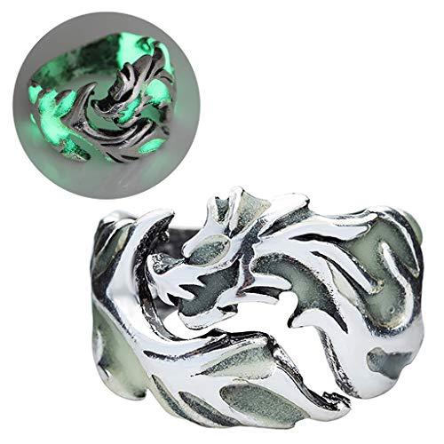 Kofun - Anillo 2018 vintage y unisex, anillos que brillan en la oscuridad, dragón, anillos para hombres y mujeres, anillos luminosos en la oscuridad, anillo de joyería, accesorios bronce y azul