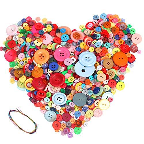 Hoiny 900 Stück Bunte Knöpfe, Kunstoff Bastelknöpfe, Puppenknöpfe - rund, gemischte Größen & Farben zum Basteln Nähen Kinder DIY Basteln Painting Geschenk Deko
