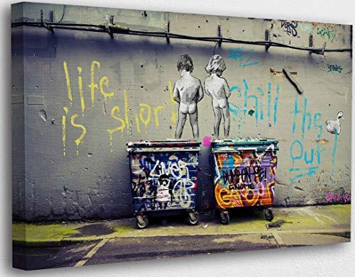 Banksy Graffiti Toile Art Décor Life is Short Tableau...