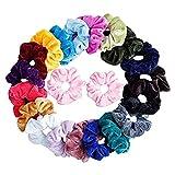 21 unidades de gomas de pelo de terciopelo multicolor, de Doublehero, para niñas, para mujer, con cola de caballo, accesorio para el pelo, traceless