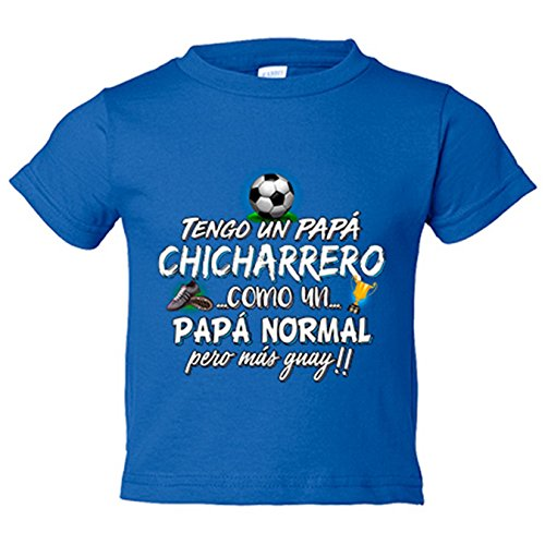 Camiseta niño tengo un papá Chicharrero como un papá normal pero más guay - Azul Royal, 12-14 años
