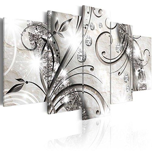 murando - Bilder Abstrakt 200x100 cm Vlies Leinwandbild 5 TLG Kunstdruck modern Wandbilder XXL Wanddekoration Design Wand Bild - Brillante Ornament beige schwarz Silber a-A-0051-b-m