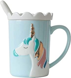 KELYNN Cute 3D Unicorn Mug Coffee Tea Cup with Spoon Ceramic Travel Mug with Lid and Handle for Woman - Unique Home Office 11.8oz Coffee Tea Mug(Blue)