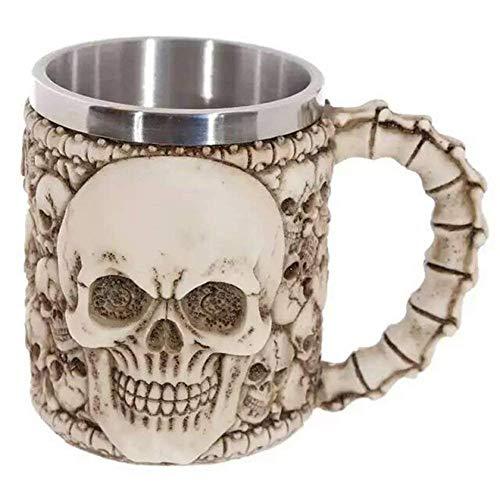 Taza de café del cráneo del acero inoxidable de Taisuko Tazas de cerveza del cráneo de Viking Regalo del cráneo tribal gótico Tankard Taza de café taza Creepy