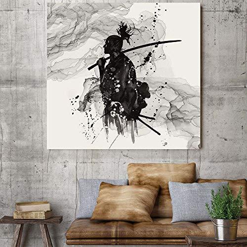 SYFDW Cuadro En Lienzo Samurai Retrato En Blanco Y Negro Abstracto Impresión Tejido Impresión Artística Imagen Gráfica Decoracion 50X70