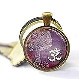 Llavero del árbol de la vida, joyería de yoga, Om, llavero de amor, Zen, meditación, budismo,...