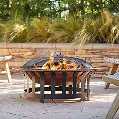 """John Timberland Zurich Copper and Black Outdoor Fire Pit Round 40"""" Steel Wood Burning with Spark Screen and Fire Poker for Backyard Patio Camping Deck"""
