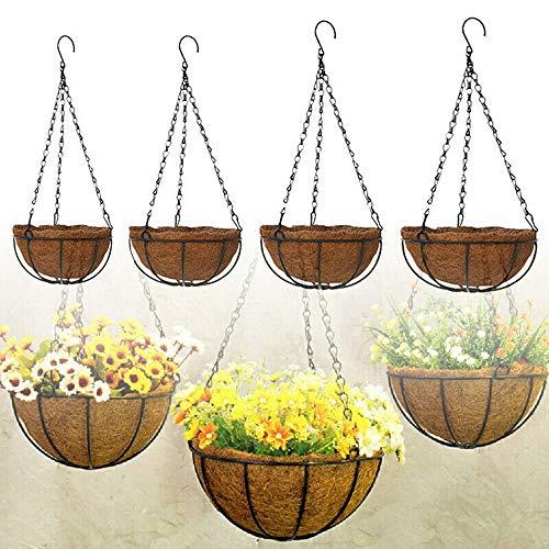 Hängender Korb, Pflanzer-Blumenkorb, Kokosnuss-Kokosschalen-Blumentopf, Blumenhalter für Pflanzentöpfe im Freien, Kokos-Hängende Pflanzgefäße für die Gartendekoration des Kleiderbügels