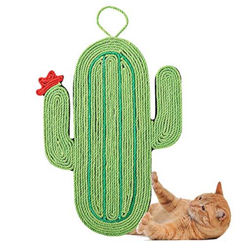 Cactus Cat Scratcher Matte, Katzenkratzmatte Pet Cat Scratch Pad Natürliches Sisal Rutschfeste Schutzmöbel Wandboden Verwenden Sie Scratcher Spielzeugkissen Schlafteppich mit hängendem Seil Matte