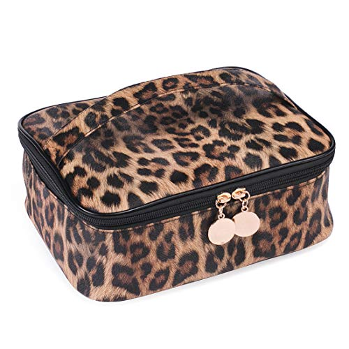 Leopard Makeup Bag Large Travel Cosmetic Case Waterproof Portable Cheetah Printed Toiletry Bags Organizer Brushes Storage Bags with Gold Zipper Adjustable Dividers for Women Girls,8.7x7.1x3.4inch