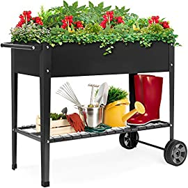 Best Choice Products Elevated Mobile Raised Ergonomic Metal Planter Garden Bed for Backyard, Patio w/Wheels, Lower Shelf… 5 DRAINAGE HOLES: Allows excess water to drain out, preventing root rot and oversaturation while keeping the soil fresh MULTIPURPOSE STORAGE: Get the most out of your planting and storage space with a large-sized planter. Designed with a built-in storage shelf for easy-access to your gardening accessories ERGONOMIC HANDLEBAR: Comes equipped with an adjustable handlebar that can attach to either the top or bottom of the planter, making it easy to maneuver according to your need