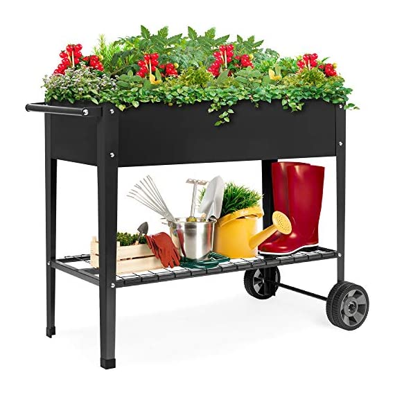Best choice products elevated mobile raised ergonomic metal planter garden bed for backyard, patio w/wheels, lower shelf… 1 drainage holes: allows excess water to drain out, preventing root rot and oversaturation while keeping the soil fresh multipurpose storage: get the most out of your planting and storage space with a large-sized planter. Designed with a built-in storage shelf for easy-access to your gardening accessories ergonomic handlebar: comes equipped with an adjustable handlebar that can attach to either the top or bottom of the planter, making it easy to maneuver according to your need
