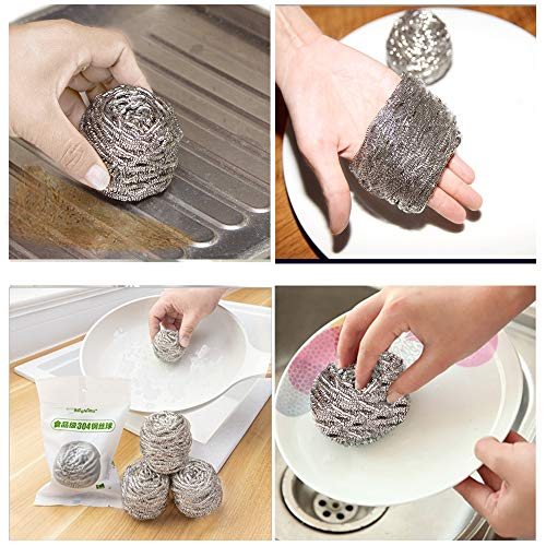 5pc Stainless Steel Cleaning Ball Powerful Pot Brush Wire Ball Washing Pot Brush Cleaning Tools Clean Brush Kichen Accessories