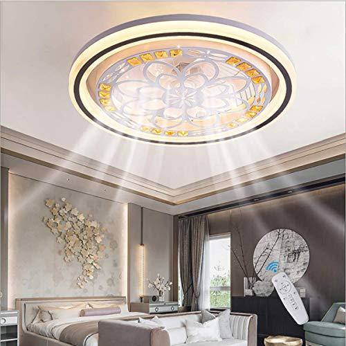 SLYT Ventilador de techo con lámpara ventilador con lámpara LED regulador de intensidad con mando a distancia moderno minimalista dormitorio y salón lámpara de techo con iluminación decorativa redonda