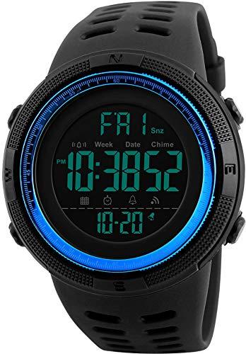 Digitaluhr Herren Jungen Militär 5ATM Wasserdicht Sportuhr Männer Armbanduhr Schwarz LED Countdown
