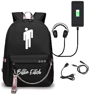 Mujeres Billie Eilish Mochila Casual Mochila Personalidad Bolsos Escolares Casual Daypacks con Puerto de Carga USB para Unisex