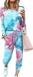 amropi Pijamas Mujer Tie Dye Pjs Top Ropa de Dormir Jogging Pantalon Nightwear Lounge Sets