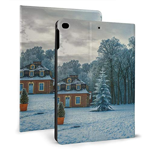D Fog Frost Frosty Frozen Gloomy Houses Ice Icy Lamp Post Landschap Lane Natuur Sky Sneeuw Gesloten Sneeuwwitje Sneeuwstorm Reizen Bomen Wandelen Weer Winter Woods Case Compatibel met 2018 iPad mini 2017 iPad air1 - Zeer beschermend maar dun + Handige Magnetische Stand + Slaap/Wakker Cover, iPad air1/2 9.7, Zwart
