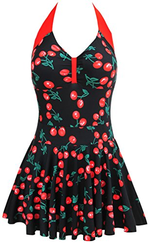 EUDOLAH Damen Retro Vintage Einteiliger Badekleid V Ausschnitt Badeanzug mit Röckchen (EU 40-42/ XX-Large, A-Berry-3)